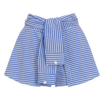 Blue Stripe Print Tied Front Culotte Shorts