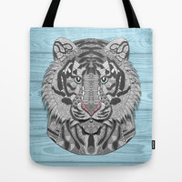 White Tiger Tote Bag by ArtLovePassion
