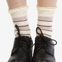 Cream Striped Mesh Socks