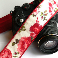 dSLR Camera Strap. White and Red Camera Strap. Floral Camera Strap. Women accessories