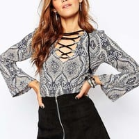 Milk It Vintage Smock Top In Paisley Floral Print With Lace Front Detail at asos.com