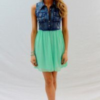 Denim Top With Mint Silk Bottom - Always a Runway Clothing