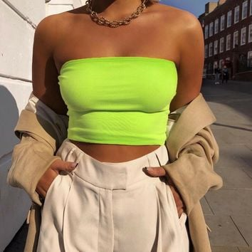 Solid Sleeveless Tube Crop Top