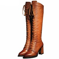 High Heels Boots Lace Up Knee High Boots