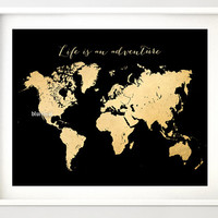 """Printable world map, vintage faux gold foil map, """"Life is an adventure"""", black & gold map, chic gold girl's room wall art - map034 D"""
