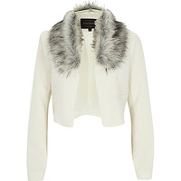 River Island Womens Cream crepe faux fur collar cropped jacket