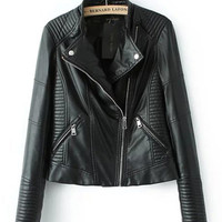 Black Stripe Threaded Diagonal Zip Faux Leather Jacket