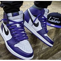 Nike Air Jordan 1 Retro AJ1 Jordan generation high top classic sneakers Shoes  Purple
