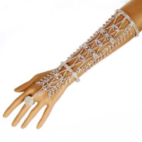 "12"" silver ab crystal hand arm bracelet cuff bridal prom pageant"