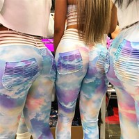 Hot Sale Summer Yoga Pants Sports Gym Sexy Hip Up Slim Print Leggings [772932960372]