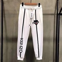 KENZO Newest Trending Women Men Stylish Embroidery Print Drawstring Sport Pants Trousers Sweatpants(3-Color) White I13626-1