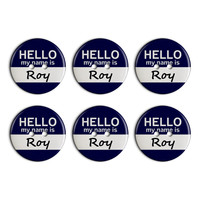 Roy Hello My Name Is Plastic Resin Button Set of 6