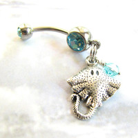 Stingray Bellybutton Ring / Beach Belly Button Jewelry Manta Ray, Silver and Aqua Belly Ring