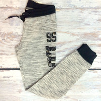 95 SEQUIN LOVE LOUNGE PANTS IN GREY