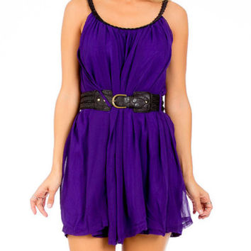 Braided Strap Flowy Chiffon Dress in Purple