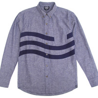 Altru Apparel Chambray Sea Waves LS Mens Buttondown Shirt (only size S)