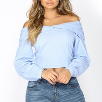 Allyson Off Shoulder Top - Blue/White