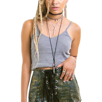 I'm an Alligator! Vegan Leather Grommet Shorts