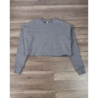 Distracted - Women's Cropped Crew Fleece Sweater in Heather Grey