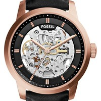Women's Fossil 'Townsman' Automatic Leather Strap Watch, 40mm - Black/ Rose Gold