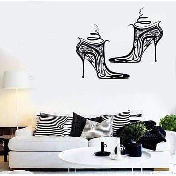 Wall Stickers Vinyl Decal Shoes Girl Woman Fashion Style Shopping Unique Gift (ig1817)