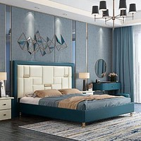 Signature Style Luxurious Wooden Framed Leather Bed With Storage