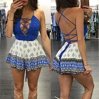 Sexy Macacoes Femininos Spaghetti Straps Lace Jumpsuit Women Short Romper Casual jumpsuit shorts  2016 Summer Playsuit