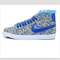 NIKE Women Men Running Sport Casual Shoes Sneakers high tops Plush shoes floral BLUE