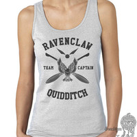 Ravenclaw Quidditch team Captain BLACK print on Female tank (Gildan Softstyle junior 64200L)
