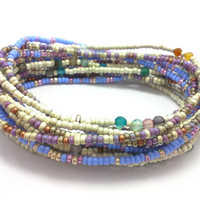 3 Stretch seed bead wrap bracelets, stacking, beaded, boho anklet, bohemian, stretchy stackable multi strand, pink white blue purple agate