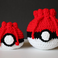 Red, White, and Black Ball Dice Pouch Bag Crochet