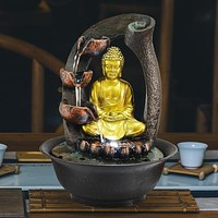 Golden Shine Creative Buddha Water Fountain