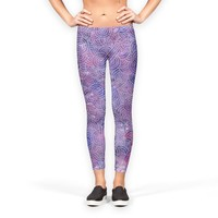 'Purple and fauw silver swirls doodles' Leggings by Savousepate on miPic