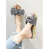 Striped Bow Decor Open Toe Sliders