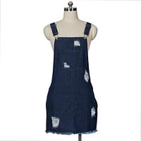 Women Street Style Casual Ripped Pattern Denim Overalls