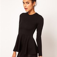 ASOS Top with Peplum in Bonded Fabric at asos.com