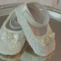 Baby Girl, Off White Satin Rosette Crib Shoes, Christening, Baptism, Wedding, Baby shoes, First Birthday,Fancy shoes