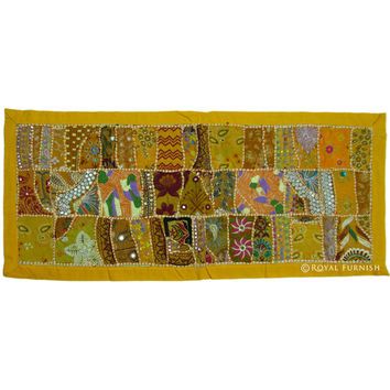 Yellow Antique India Patchwork Runner Tapestry