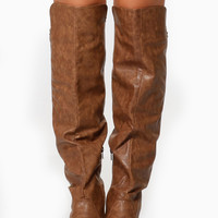 Taupe Faux Leather Knee High Riding Boots