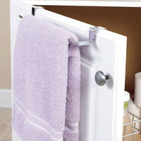 Chrome Over Cabinet Door Towel bar With Basket For Storage Organization Kitchen