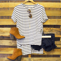 Saratoga Stripe Top - White