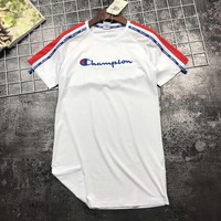 Champion Newest Fashion Women Casual Embroidery Short Sleeve Round Collar Dress White