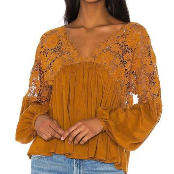 Free People Lina Lace Top Bronze