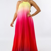 Multi Colored Ombre Backless Maxi Dress