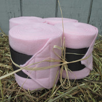 Set of 4 Polo Wraps for Horses- Light Pink with Dark Brown Velcro Closure