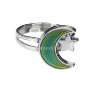 New 2014 Women's Summer Fashion Jewelry Moon and Star Shape Color Change Mood Ring Emotion Feeling Changeable Band Adjustable