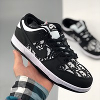 Nike SB Dunk Low x Dior Dior jacquard joint dunk series retro low-top sports skateboard shoes