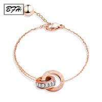 BFH New Fashion Double Circle Chain Roman Numerals Letter Bracelets for Woman Rose Gold Stainless Steel Bracelet Jewelry Gift