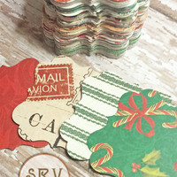 30 Holiday Gift Tags, Flourish Square Tags, Assorted Christmas Holiday Patterns Hand Cut From Scrapbook Paper, DIY Crafts and Projects