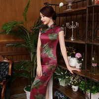 2016 chinese traditional dress fashion design long cheongsam long sleeves evening dresses gambiered Canton gauze cloth qipao